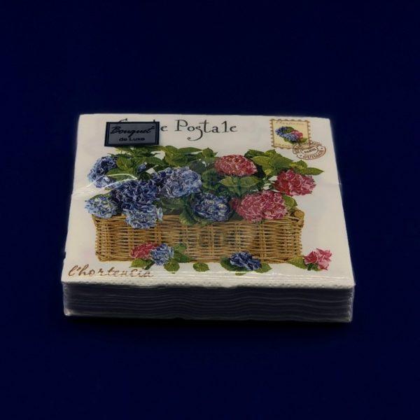 Салфетки бумажные двухслойные «Lux Гортензия» 25 л 24*24 см Bouquet 1/15