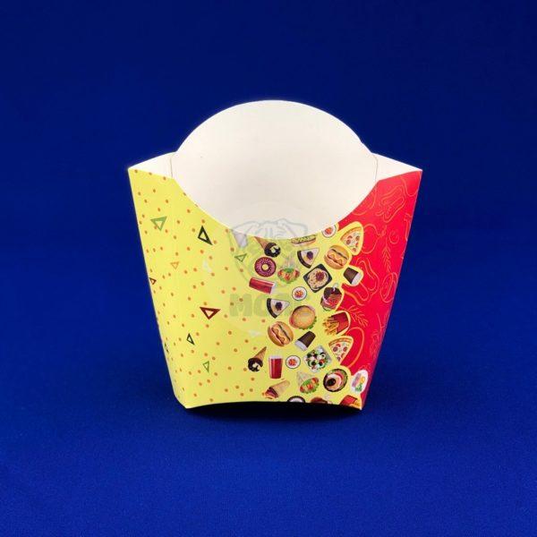Коробка для картофеля фри крафт 100гр «Рог изобилия» цветная 50/500