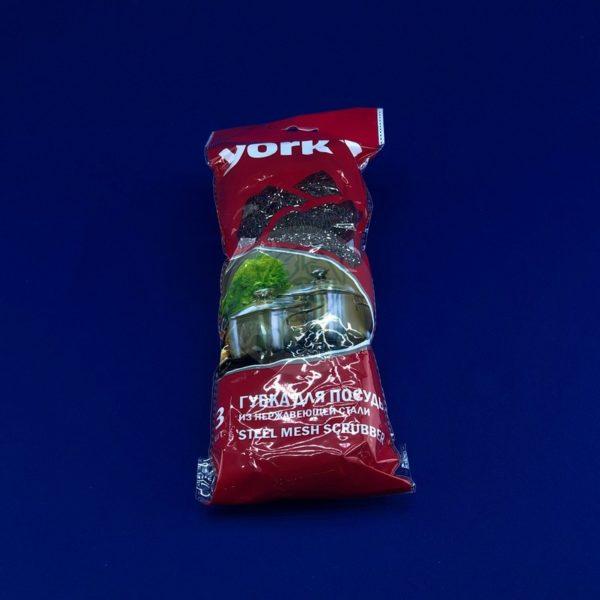 Губка для посуды металлическая «York» сталь 3шт 1/80