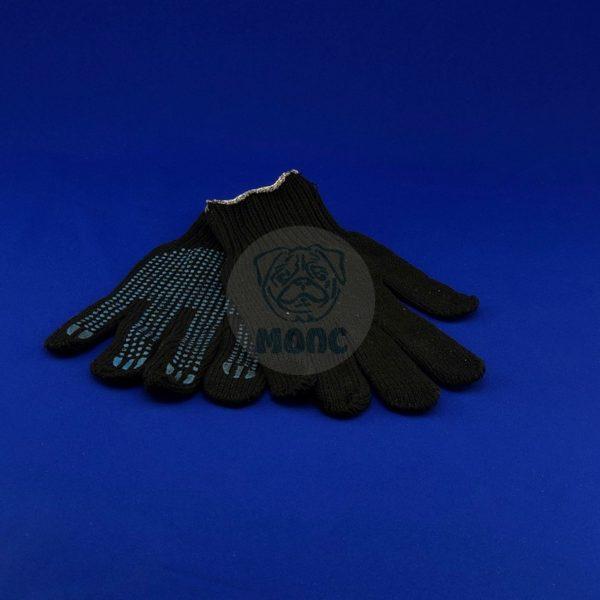 Перчатки рабочие хлопчатобумажные с текстурой из пвх черные, обхват ладони R-17 1/300