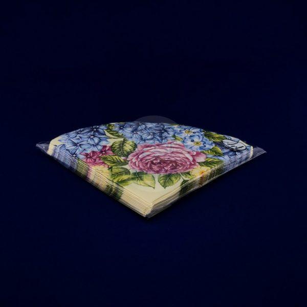 Салфетки бумажные трехслойные «Гортензия и розы» 12л d32 Rondo 1/15