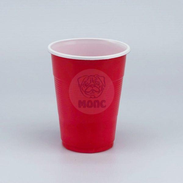 Стаканчик одноразовый 200мл пластиковый двухслойный Экстра красно-белый 80/35/2800