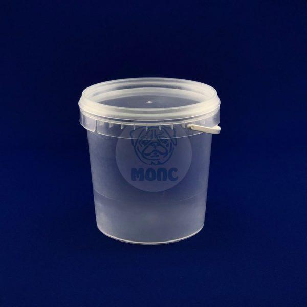 Пластиковое ведро 1,18л с крышкой и ручкой бесцветное 1/150