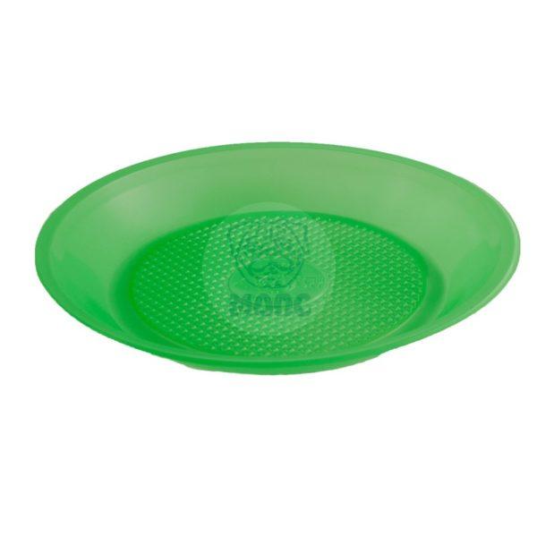 Тарелка десертная одноразовая пластиковая диаметр 200мм зеленая 100/1800
