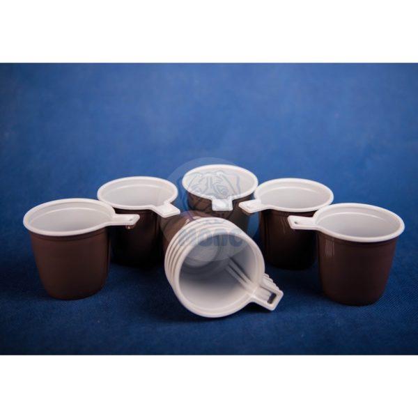 Набор чашек кофейных одноразовых коричнево-белых 0,2 л (10шт) 1/150