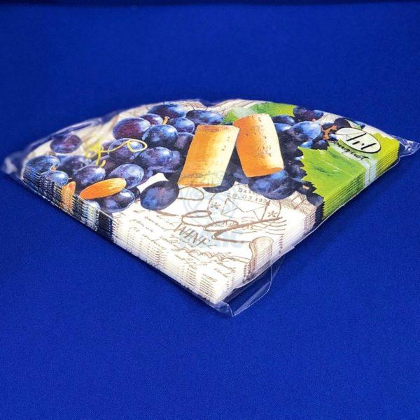 Салфетки бумажные трехслойные «Виноградный венок» 12 л d32 Rondo 1/15