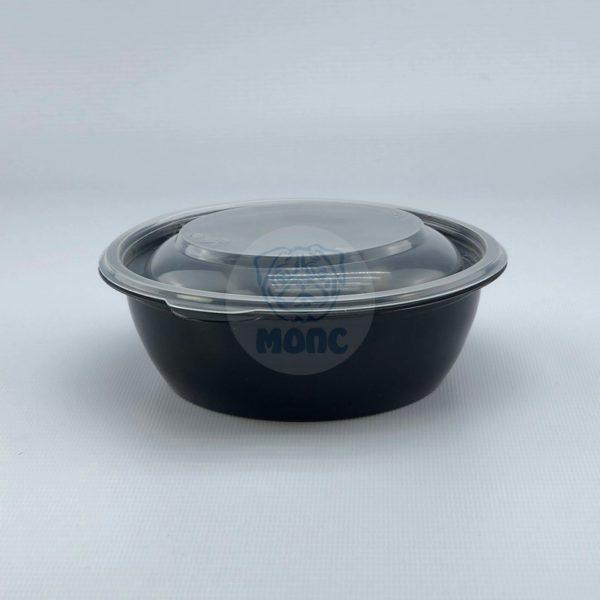 Контейнер черный суповой с крышкой К-144 0,37л 50/300