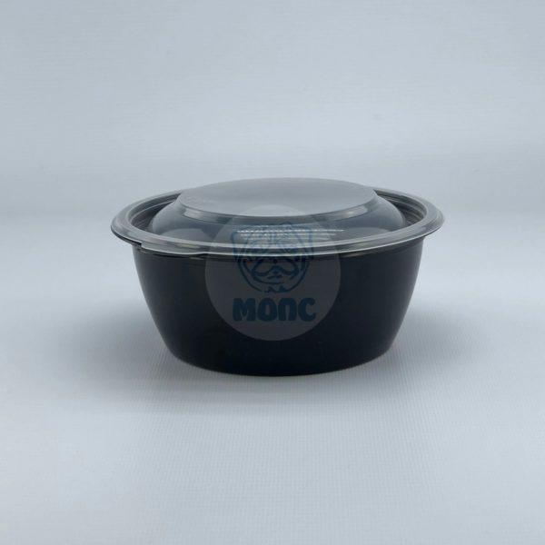 Контейнер черный суповой с крышкой К-144 0,5л 50/300