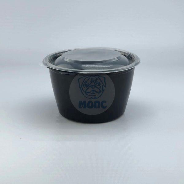Контейнер черный суповой с крышкой К-144 0,75л 50/300