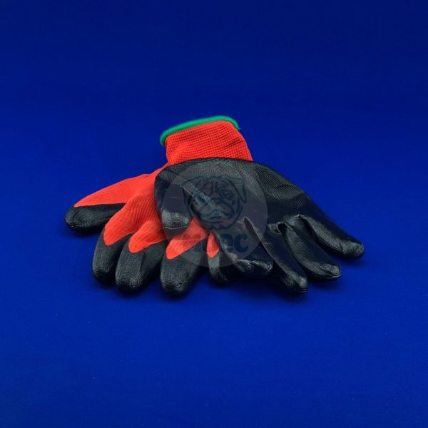 Перчатки нейлоновые с нитриловым покрытием чёрные 12/600