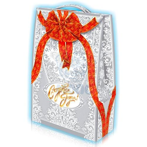 Картонный пакет для новогодних подарков «Подарочный» 2 кг