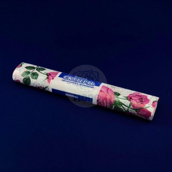 Скатерть одноразовая полиэтиленовая в рулоне «Розовые Розы» 120*800см 5шт 1/25