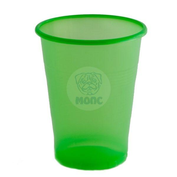 Стаканчик одноразовый 200мл пластиковый зеленый Стандарт 100/42/4200