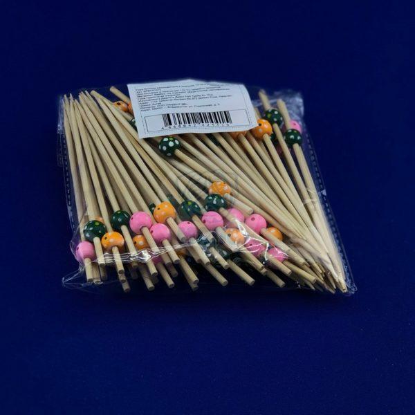 Палочки пика для канапе деревянная бамбуковая «Бусины» длина 12см (100шт) 1/100