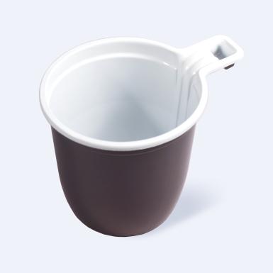 Чашка кофейная пластиковая одноразовая 200мл бело-коричневая 50/1500