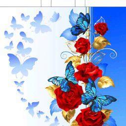 Пакет с приварными ручками «Синие бабочки» 38*42 40мкм 50/500