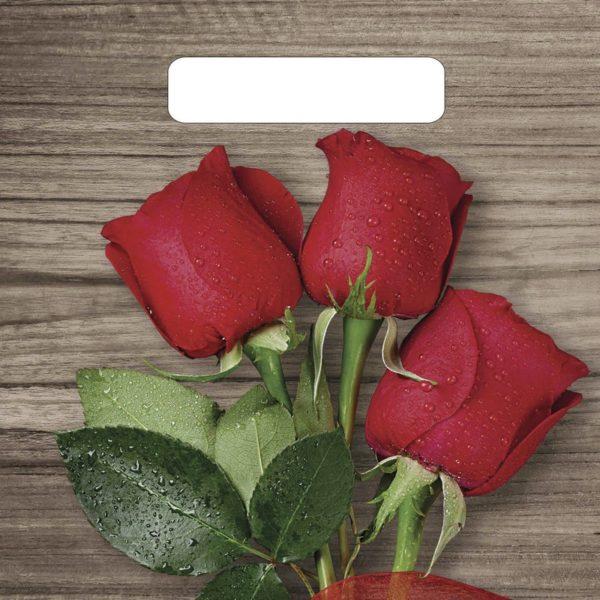 Пакет с вырубной ручкой «Свежие розы» 20*30см 100/3000