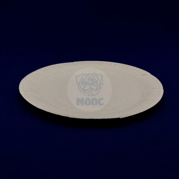 Тарелка бумажная одноразовая десертная диаметром 200мм белая 100/1400