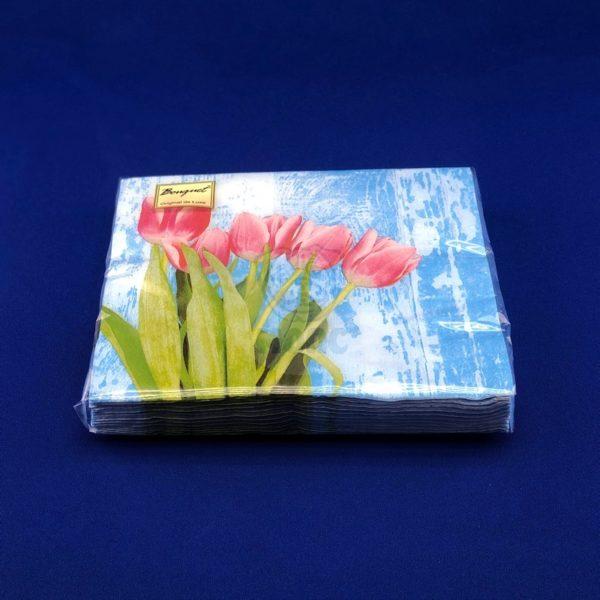 Салфетки бумажные трехслойные «Красные тюльпаны» 20 л 33*33 см 1/12