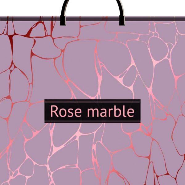 Пакет с пластиковой петлевой ручкой «Розовый мрамор» 36*37см 1/10/100