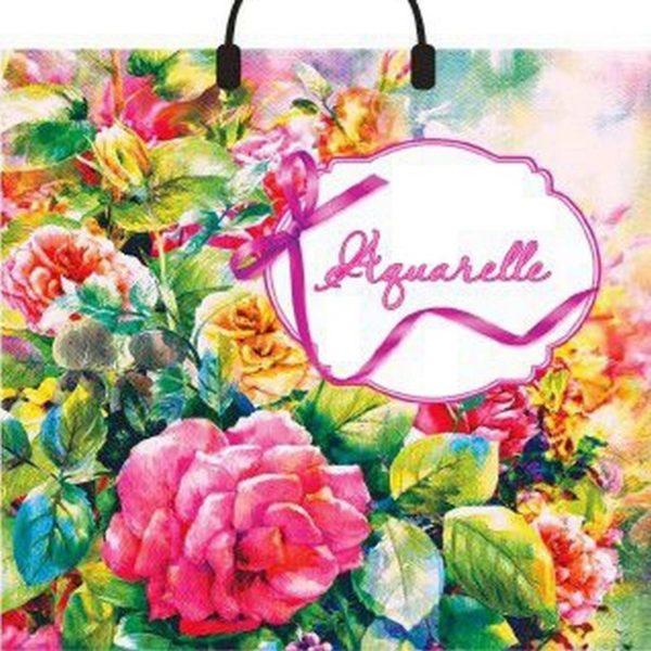 Пакет с пластиковой петлевой ручкой «Розовая акварель» 40*36см 10/100
