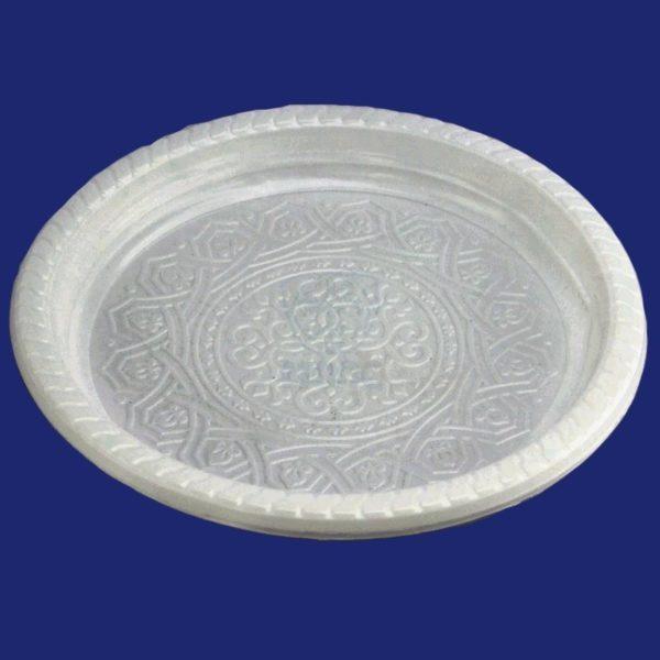 Тарелка с узором одноразовая пластиковая диаметр 220мм белая 50/40/2000