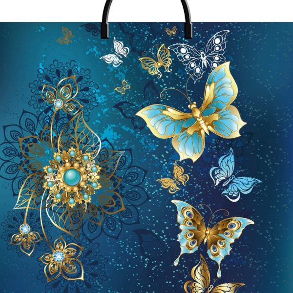 Пакет с пластиковой петлевой ручкой «Золотые бабочки» 40*44см 10/100