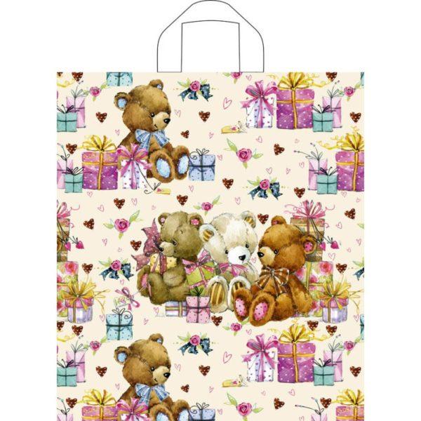 Пакет с петлевой ручкой «Мишка с подарками» 38*42см 50/300