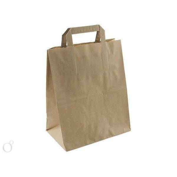 Пакет бумажный с плоскими ручками крафт 240+140*280 1/300