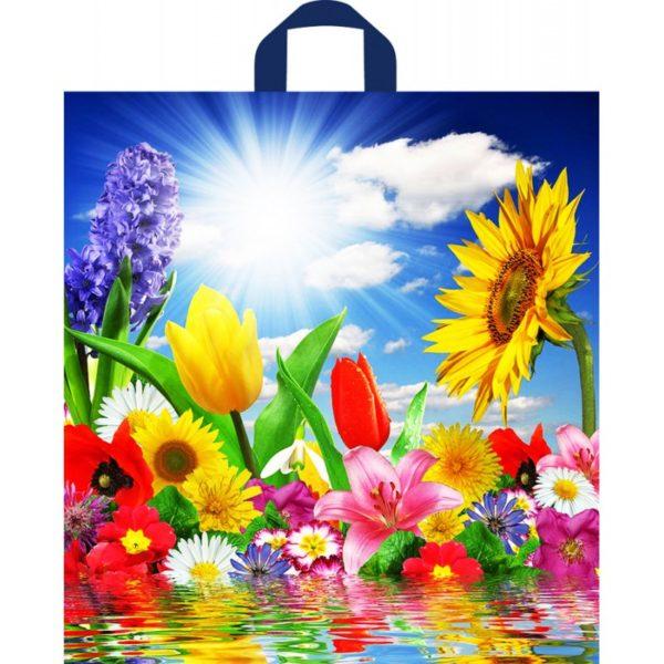 Пакет с петлевой ручкой «Море цветов» 38*42см 50/300
