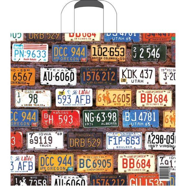 Пакет с пластиковой петлевой ручкой «Авто номера» 40*44см 1/10/100