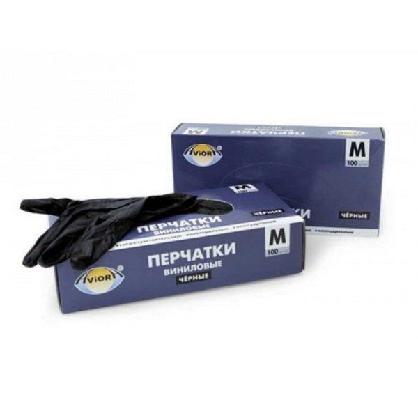 Перчатки виниловые неопудренные(100шт) черные M 1/10